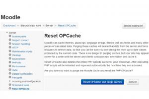 Screenshot: Moodle Reset OPCache