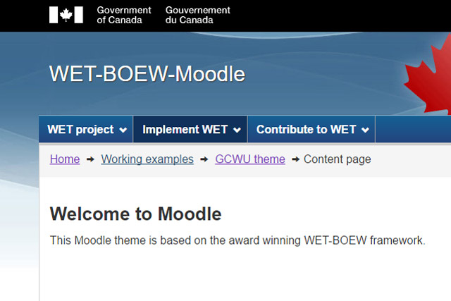 WET-BOEW-Moodle draft partial screenshot