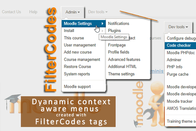 FilterCodes tags for Moodle - Example: Dynamic content aware menus